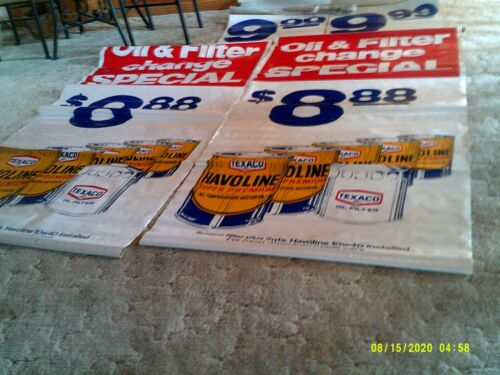 "2 VINTAGE TEXACO HAVOLINE OIL CHANGE WITH FILTER SIGNS 44"" X 88"" INCLUDES HARDWA"