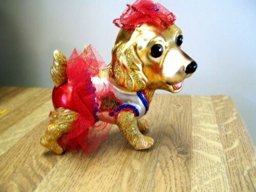 DOG  ORNAMENT GLASS CHRISTMAS DRESSED