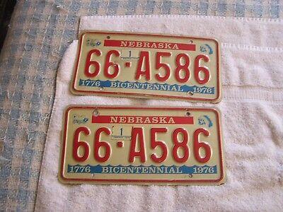 1976 Nebraska  Bicentennial License Plate Plates Set