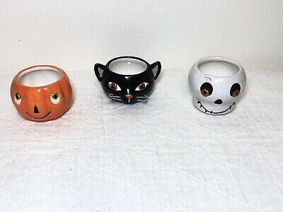 Halloween Pumpkin Glass Cat Ghost Votive Tealight Candle Holder Hallmark