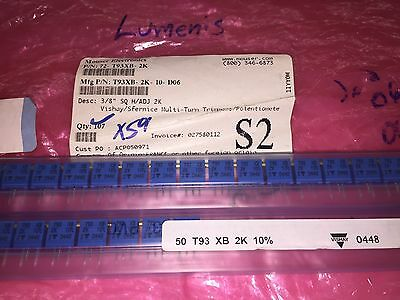29 Piece Lot T93xb202kt20 Trim Potthrough Hole 2 Kohm 500 Mw 10 23 Turns