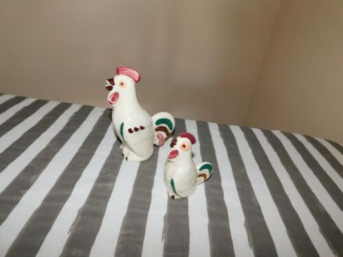 Shawnee Rooster Shakers Vintage Pottery One Big Other Small