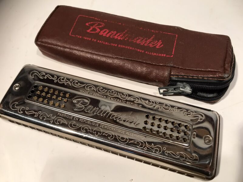 """Vintage The Bandmaster C-G Harmonica Made In East Germany w/ Leather Case 7"""""""