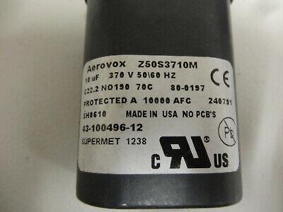 Aerovox Capacitor Z50s3710m 10uf 370v 5060hz-----used