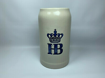 HB Hofbrauhaus Beer Stein Mug Stoneware 1 Liter HB Blue
