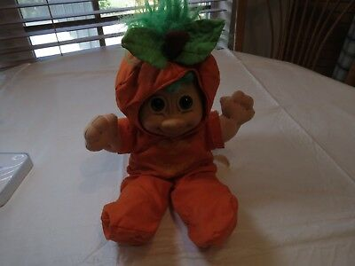 Troll Halloween Puppe Kürbis Große Russ Jack O Lantern Seltener Grün Haar Kostüm