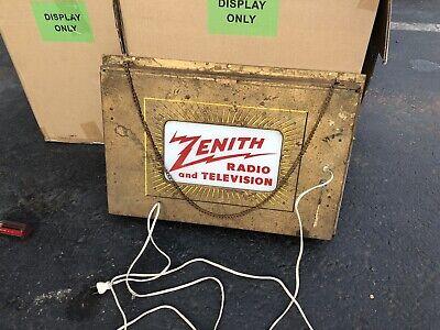 Vintage Original ZENITH RADIO and TELEVISION DEALER Light Up ROG Hanging SIGN