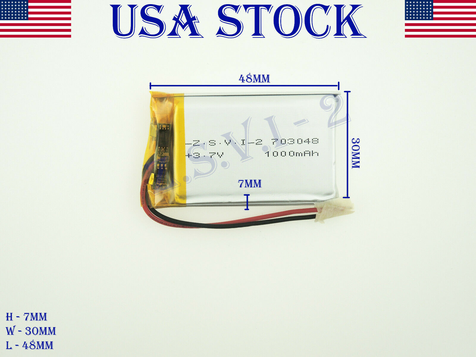 3.7V 1000mAh 703048 Lithium Polymer LiPo Rechargeable Batter