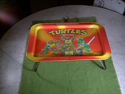 Vintage 1988 Teenage Mutant Ninja Turtles Orange Metal TV Snack & Activity Tray