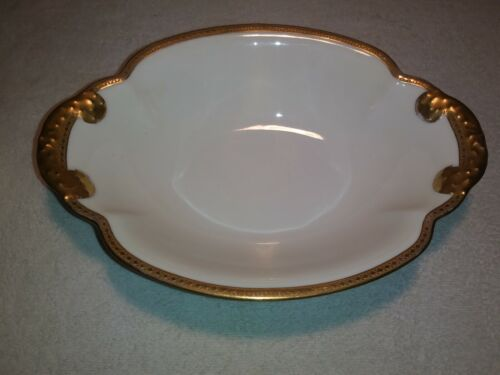 "Porcelain Haviland Limoges France Gold Encrusted ""Marquis"" Serving Dish / Bowl"