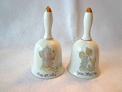 "PRECIOUS MOMENTS ""LOVE LIFTED ME"" & "" THOU ART MINE"" PORCELAIN BELLS-1980 & 1984"