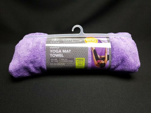 Gaiam Stay Put Yoga Mat Towel Microfiber Purple Full Size 26