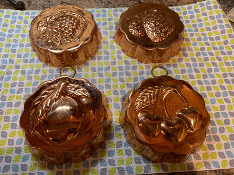4 Vintage Copper Molds Kitchen Fruits Brass French Wall Decor Scalloped Edges