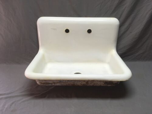 "Antique High Back 30"" Cast Iron White Porcelain Single Basin Sink Vtg 546-20E"