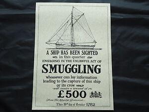 Smuggling-Ship-Poster-1782-Large-Pub-Sign-Nice-Framed-Bar-Beer-whiskey-Gin-Rum