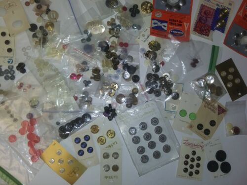 Vintage Nice Lot of Buttons Some on Cards Sets Sewing Craft mix/ over 400