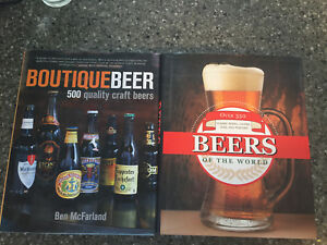 Hard cover books on beer