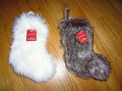 New    Christmas Fur Mini Stockings Holiday Decoration 9  Long White  Or Black