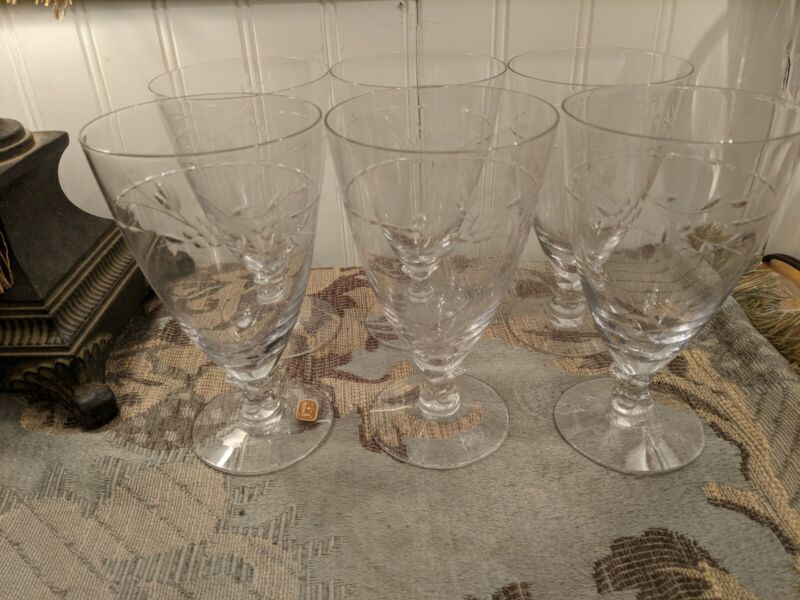 6 Beautiful Vintage Fostoria Footed  Etched Crystal Wine Water Goblets Glasses