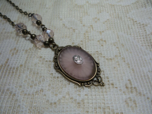"""HANDMADE VINTAGE SUNRAY PINK FROSTED CAMPHOR GLASS NECKLACE 18"""""""