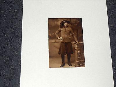 Vintage Echt Foto WWI Italienische Armee Schwarz und Weiß Militär Postkarte ()