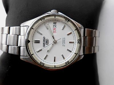 JAPAN MADE Rare Vintage Military White Dial SEIKO 5 Mens Automatic WristWatch