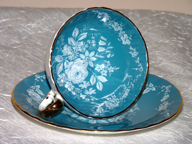 Vintage Aynsley Aqua Blue White Rose Gorgeous teacup set