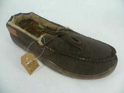Jo & Joe mens Fur Lined Moccasin Slippers Brown UK 7 EU 41 LN180 PP 03