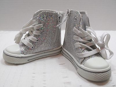 Girls Silver Tennis Shoes White Strings Pink Peace Side Zipper Lace Up Medium (Tennis-schuhe Strings)