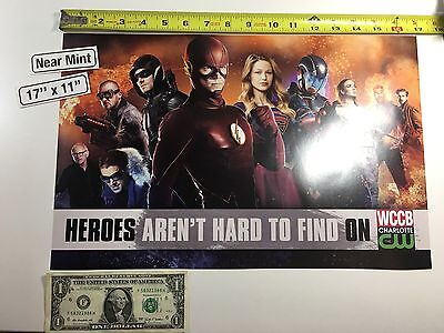"""Flash Arrow Supergirl Legends of Tomorrow CW 17"""" x 11"""" Poster Heroes Con 2016 DC"""