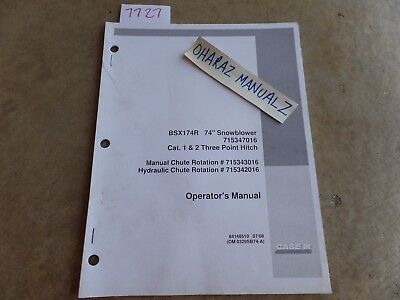 Case Bsx174r 74 Snowblower 715347016 Cat. 1 2 3-point Hitch Operators Manual