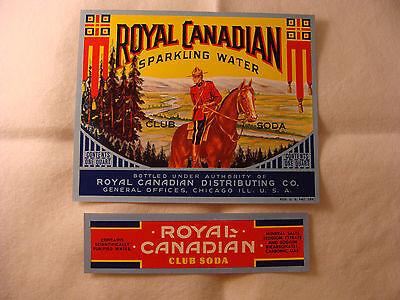 Royal Canadian Club Soda bottle and neck label set