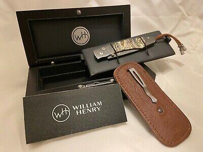 William Henry Pocket Knife Collectable B12 Auburn 038/100 Damascus Steel