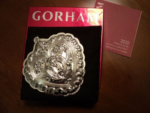 """2020 GORHAM Sterling Silver """"Chantilly HEART"""" Ornament - 13th Edition"""