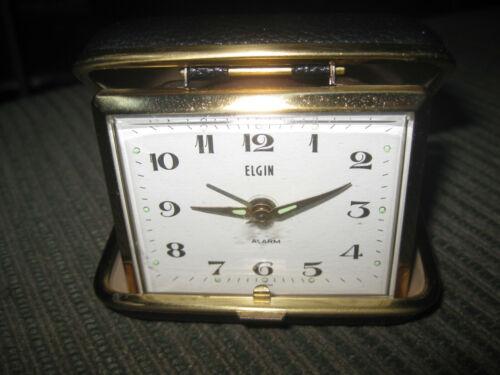 Vintage Elgin Travel Folding Pocket Alarm Clock.tested and working, made Japan