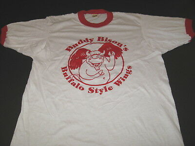 Buffalo Style Chicken Wing (Buddy Bisons Buffalo Style Chicken Wings - Vintage 1980s Ringer T-Shirt New! MED )