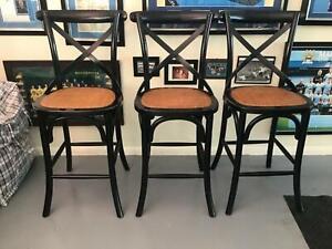 Provincial shabby chic black Bar stools set 3 URGENT MOVING SALE