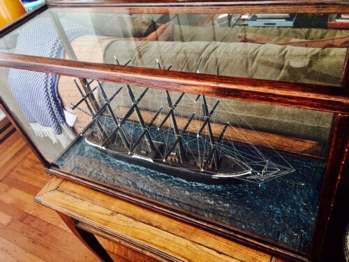 Handmade Antique Cased Sailing SHIP MODEL from South Carolina REDUCTION