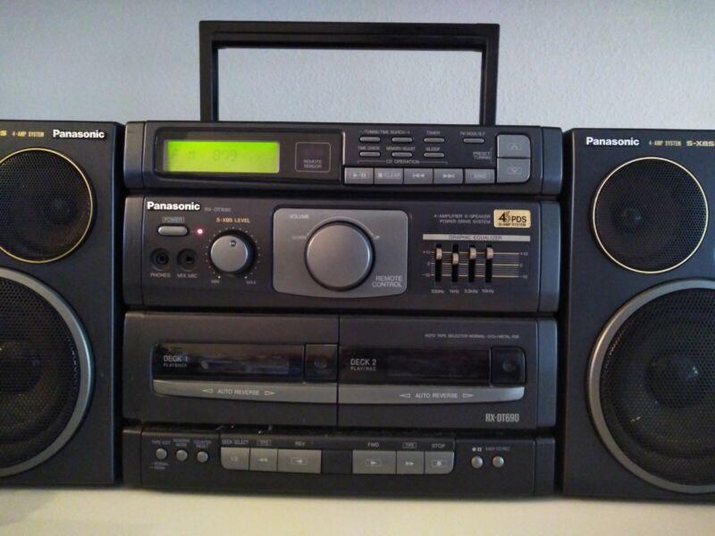 Panasonic RX-DT690 Portable Stereo Boombox XBS Mash No Remote Antenna broke