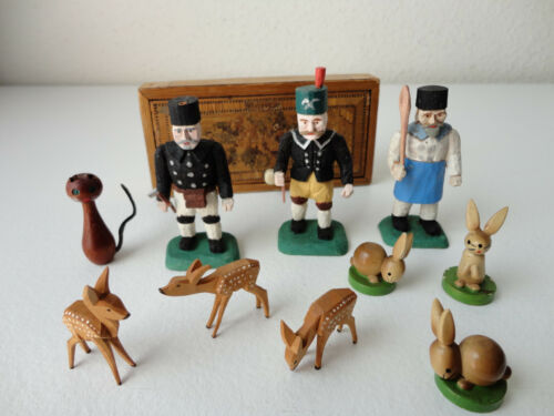 Vintage ESCO & Other Mini Wooden Figurines + Box : Woodsmen, Deer, Rabbits & Cat