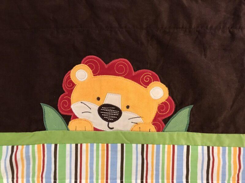 "Too Good Baby Nursery Bedding Valance Striped Brown Jungle Lion 58 X 15"""