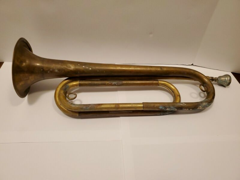 vintage REXCRAFT USA US Regulation WWII boy scouts BSA brass BUGLE w/mouthpiece