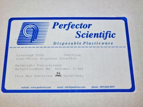 PERFECTOR SCIENTIFIC 9003 SEMI-MICRO DISPOSAL CUVETTES VOL. 1.5ML QTY 84