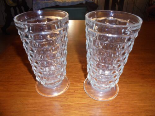 Vintage cube cubist clear tea/water glass tumbler 6 inches tall footed pedestal