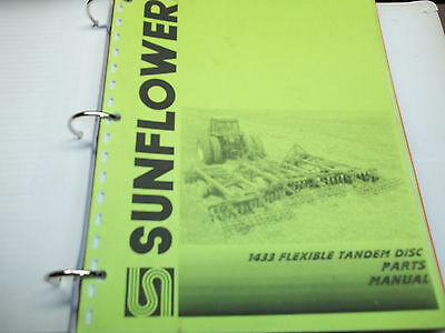 Sunflower 3 Section Field Cultivator Op.manual Disc Attchment Parts Manual