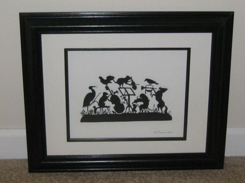 "Framed & Matted Paper Cutting Scherenschnitte by M.Grimm - 2001 - 14""x19"""