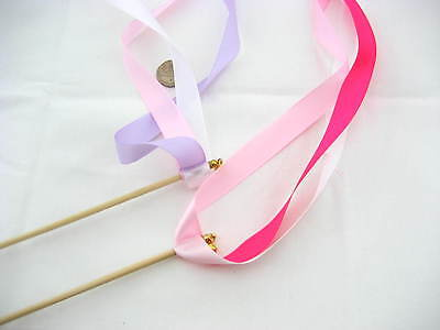 5pcs pink wedding ribbon Wands with bells Twirling Streamers wedding props ()