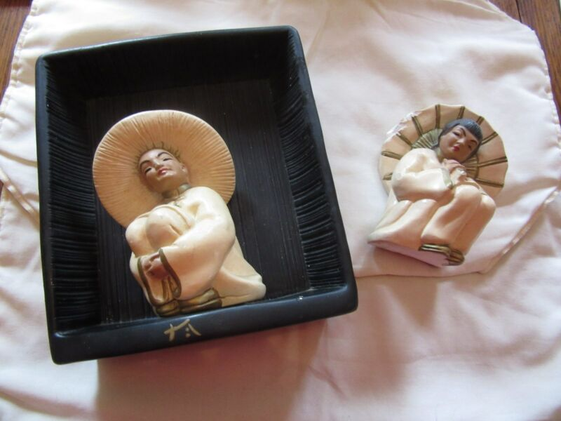 Vintage 1950s Asian Oriental Figurines--Man & Woman--Authentic Heavy Mid Century