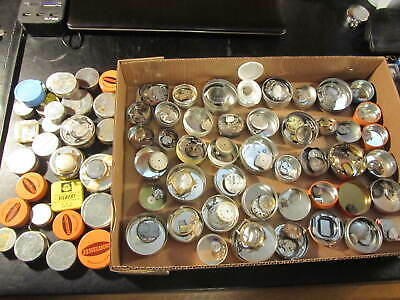 Large lot Vintage watch parts, movements faces plus tins with advertising .