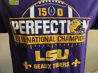 LSU Tigers 2020 Championship Men's One Sided Short Sleeve T-Shirt 50% OFF     Championship Football Shirts